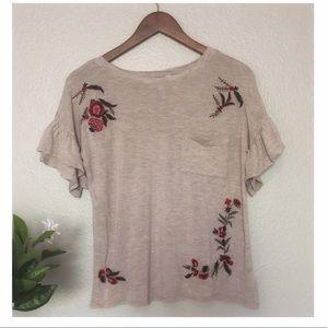 Francesca's Flutter Sleeve Floral Embroidered Top